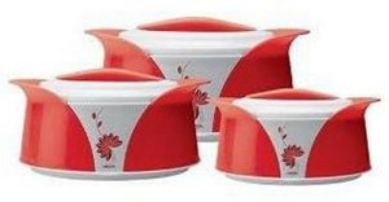 Milton Imperial Red Casserole- 3 Pcs Thermoware Casserole Set(1500 ml, 1000 ml, 500 ml)