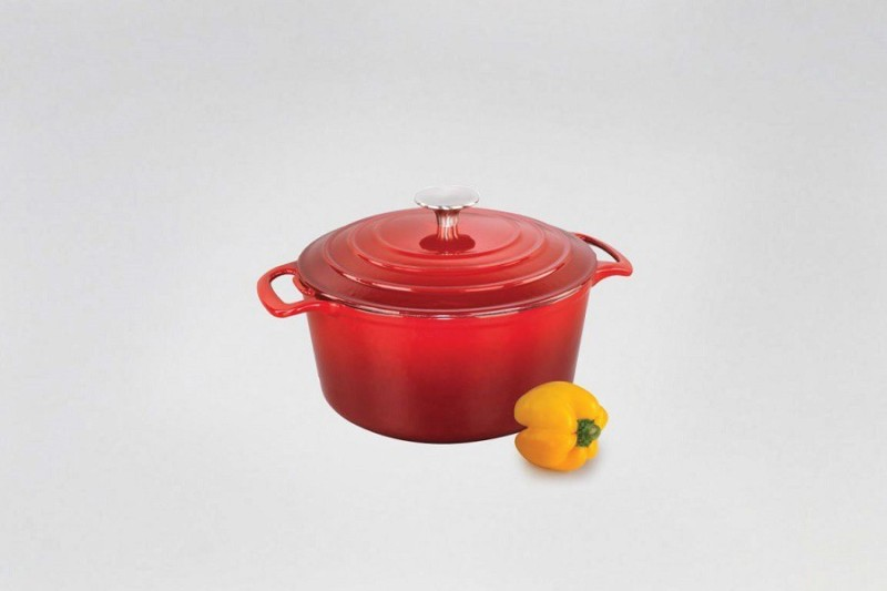 Alda Enamelled Cast Iron Round Shape Casserole Tall with Lid -25 cm Casserole(2.5 L)