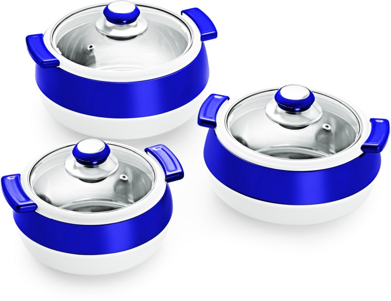 Cello Oscar Pack of 3 Thermoware Casserole Set(750 ml, 1100 ml, 1700 ml)
