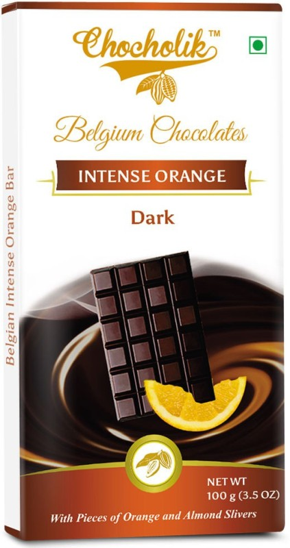 Chocholik Dark Orange Intense Bar - Luxury Belgium Chocolate Bars(100 g)