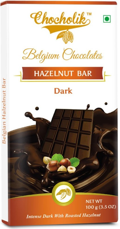 Chocholik Dark Hazelnut Bar Luxury Belgium Chocolate Bars(100 g)
