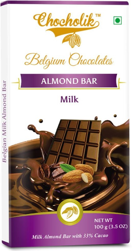 Chocholik Milk Almond Bar - Luxury Belgium Chocolate Bars(100 g)