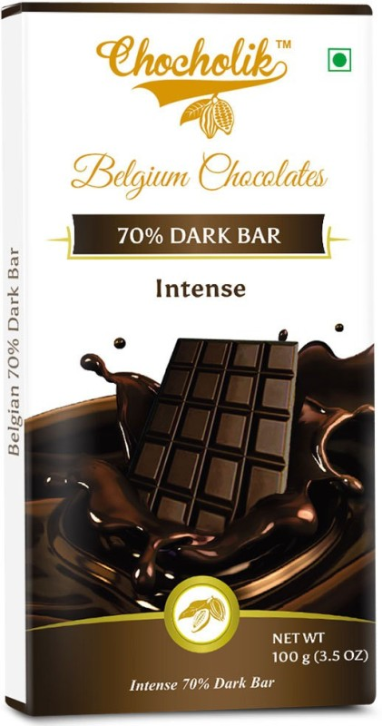 Chocholik Dark 70% Intense Bar - Luxury Belgium Chocolate Bars(100 g)