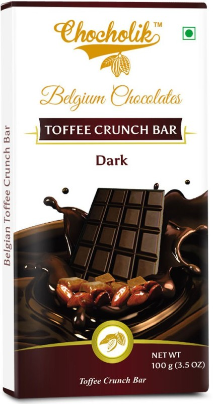 Chocholik Dark Toffee Crunch Bar - Luxury Belgium Chocolate Bars(100 g)