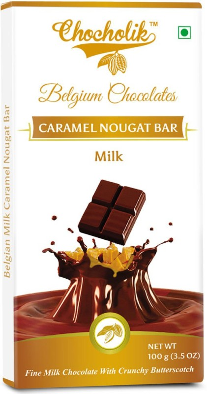 Chocholik Milk Caramel Nougat Bar -Luxury Belgium Chocolate Bars(100 g)