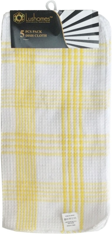 Lushomes Pattern: Checked Dishcloths Wet and Dry Cotton Cleaning Cloth(Pack of 5)