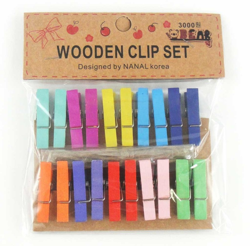 Phonoholic Smarty Medium Wooden Paper Clip(Set of 20, Multicolor)