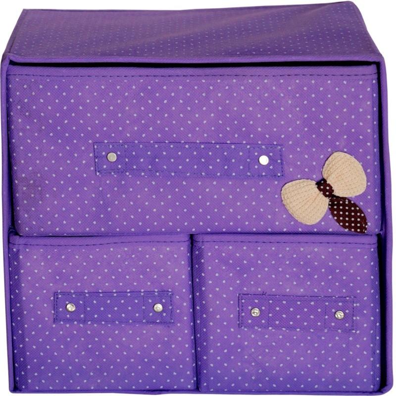 Pindia Foldable Purple 3 Drawer Storage Box Organizer Closet Divider(Fabric)