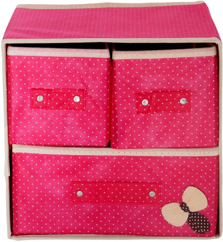 Pindia Foldable Pink 3 Drawer Storage Box Organizer Closet Divider(Fabric)