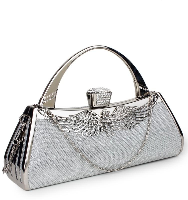 Star Style Women Festive Silver Clutch