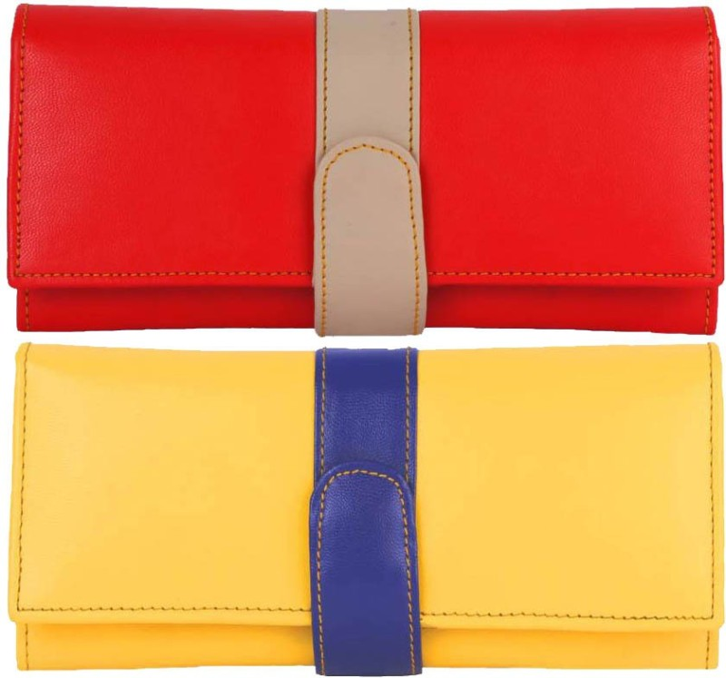 AANIA HAUTE Women Red, Yellow Artificial Leather Wallet(5 Card Slots)