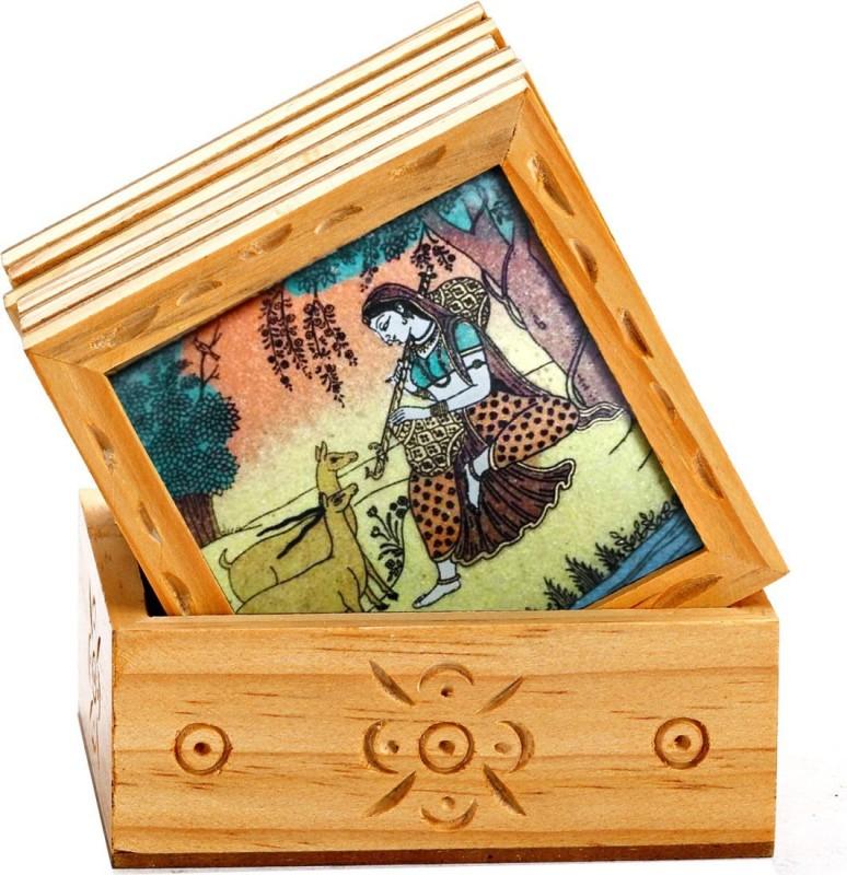 JaipurCrafts Square Wood Coaster Set(Pack of 7)