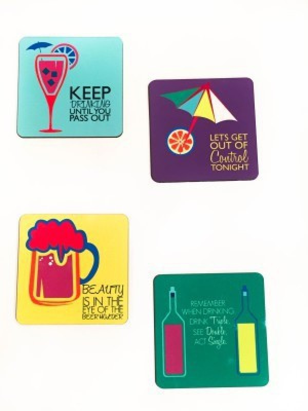 Funcart Square Wood Coaster Set(Pack of 4)