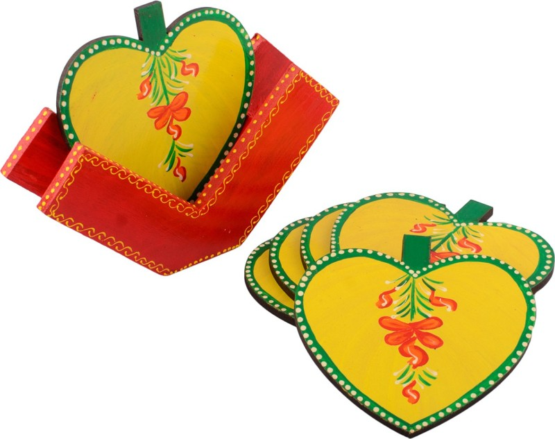 eCraftIndia Heart Wood Coaster Set(Pack of 6)