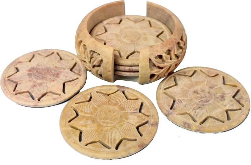 Stonkraft Round Stone Coaster Set(Pack of 6)
