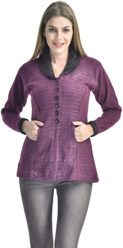 Sanvi Traders Womens Button Solid Cardigan