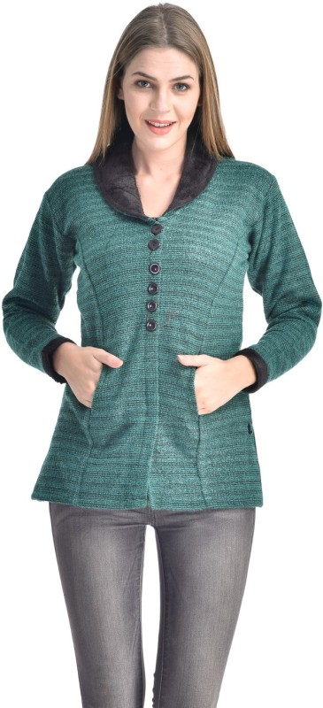 Christy World Womens Button Solid Cardigan