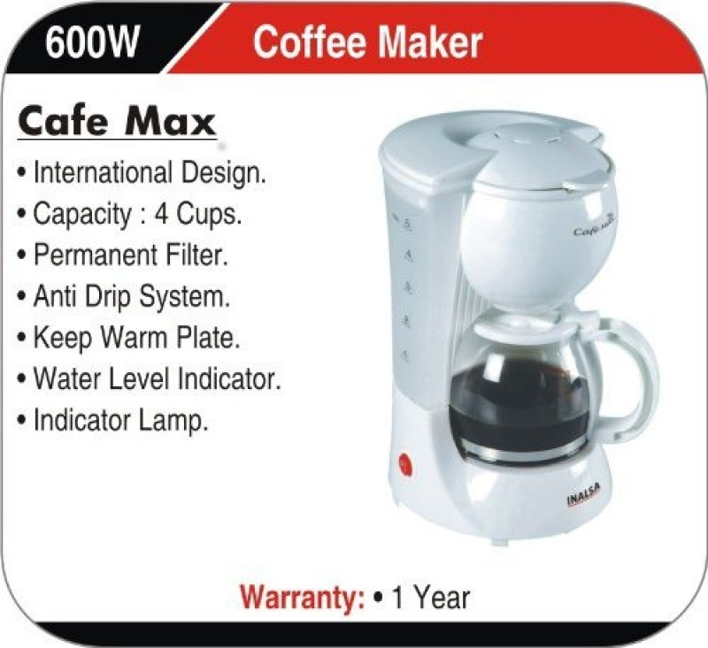 Inalsa Coffee Maker How To Use : Inalsa Cafemax 5 Cups Coffee Maker - NoveltyCart
