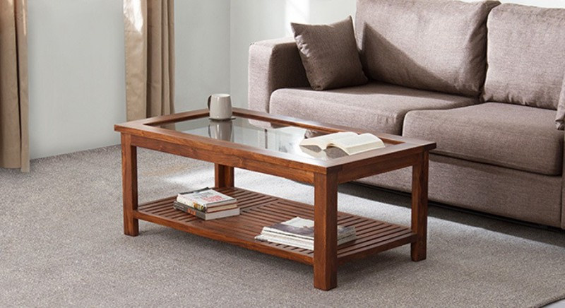 Urban Ladder Claire Solid Wood Coffee Table(Finish Color - Teak)