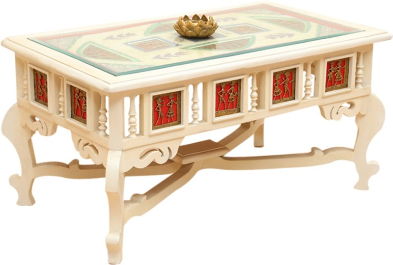 ExclusiveLane Teak Wood Solid Wood Coffee Table(Finish Color - Creamish White)