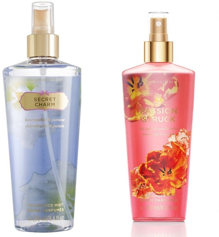 Victorias Secret Fragrance Body Mist Set Passion Struck and Secret Charm for Women (250 ml x 2) Combo Set(Set of 2)