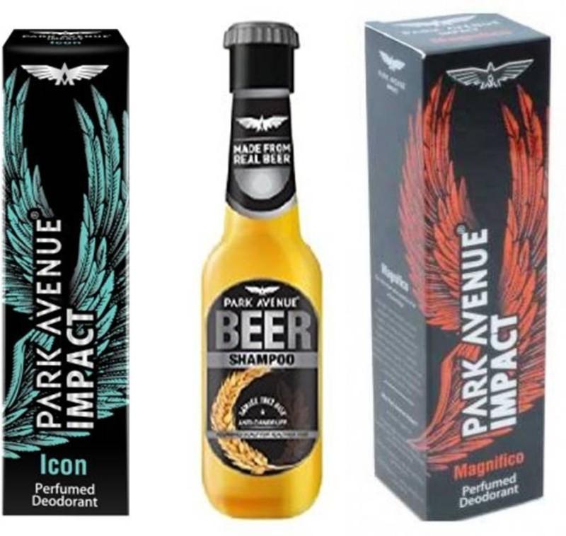 Park Avenue Icon,Magnificco and Anti Dandruff Beer Shampoo Combo Set(Set of 3) image