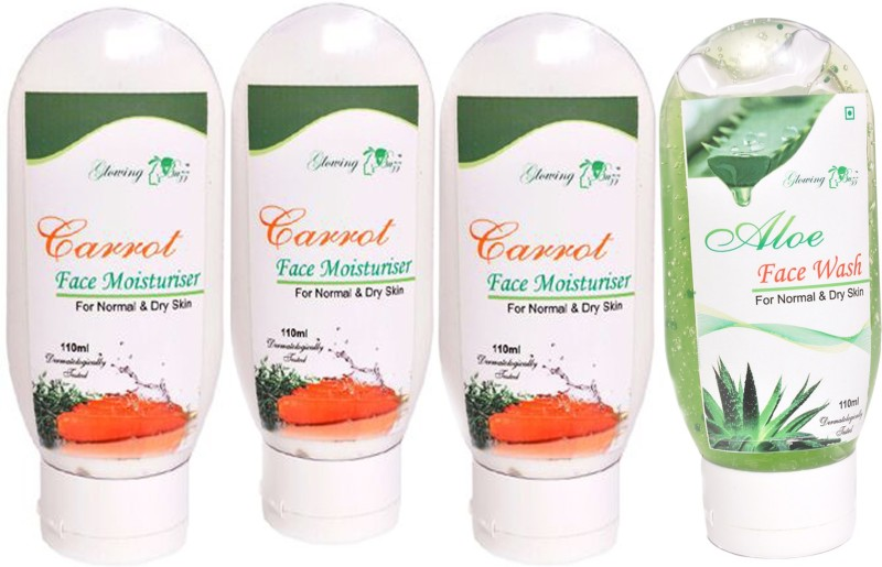 Glowing Buzz Combo of 1 Aloe Face Wash and 3 Carrot Moisturiser for normal to dry skin(Set of 4)