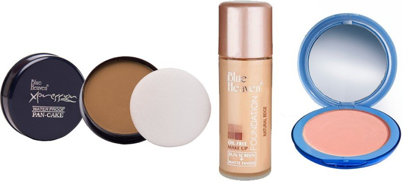 Blue Heaven Xpression Pan Cake (76), Oil Free Foundation (Natural Beige) & Silk On Face Compact (SKIN) Combo.(Set of 3)