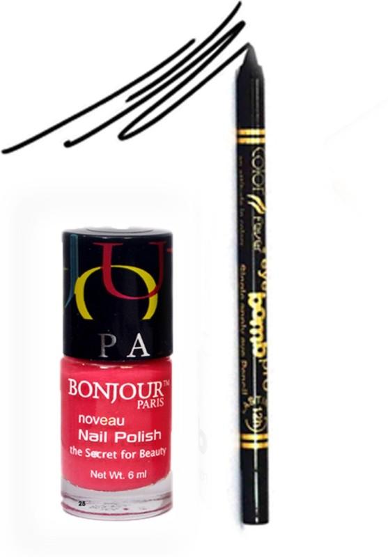 Bonjour Paris Color Fever 907 Black Pro Kajal+Pink Nail Polish(Set of 2)