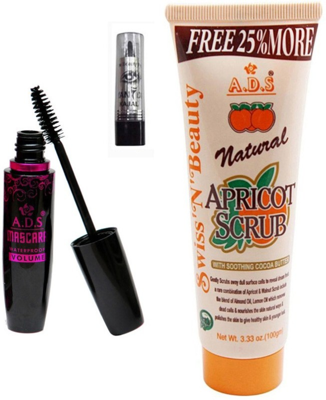 ADS 1625 Mascara, Kajal, Scrub (100gm)(Set of 3)