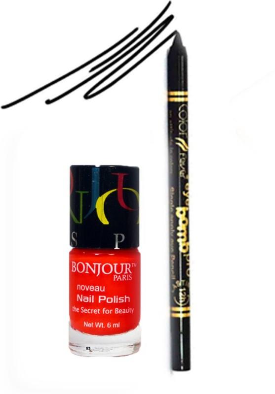 Bonjour Paris Color Fever 920 Black Pro Kajal+Red Nail Polish(Set of 2)