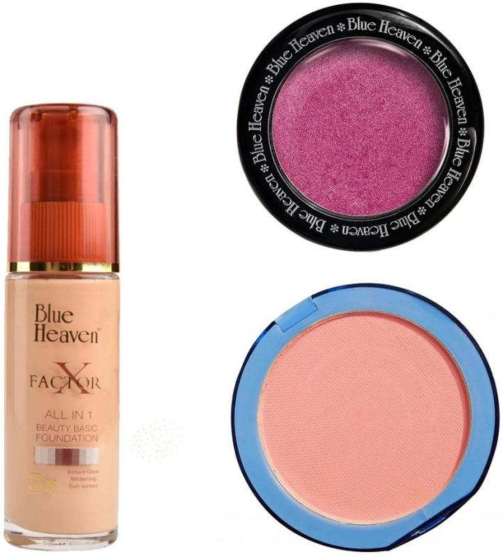 Blue Heaven X Factor Foundation (Blush), Silk On Face Compact (Pink) & Diamond Blush on 501(Set of 3)