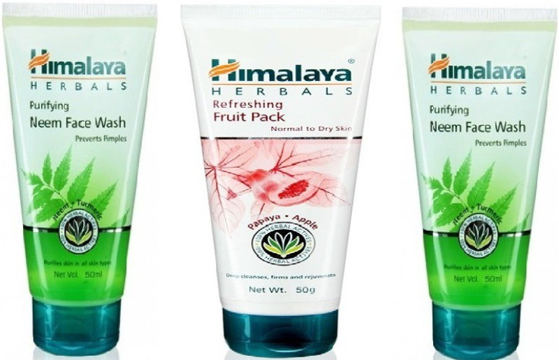 Himalaya Neem facewash and refreshing fruit pack combo(Set of 3)