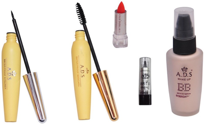 ADS Eyeliner, Mascara, Foundation, Lipstick and Kajal(Set of 6)