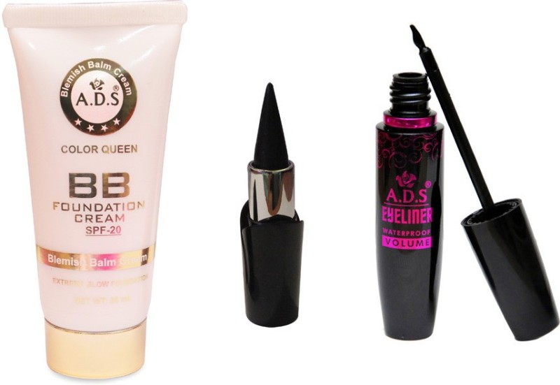 ADS BB Cream (SPF-20) / PhotoGenic Kajal / Waterproof Eyeliner(Set of 3)