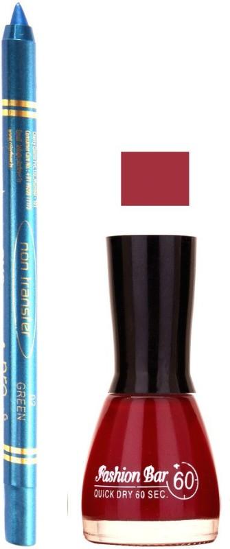 Fashion Bar Redish Mauve Nail Polish With Pro Non Transfer Turquoise Blue Kajal 67(Set of 2)