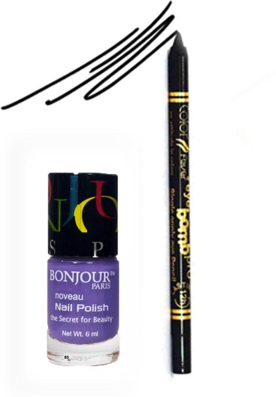 Bonjour Paris Color Fever 905 Black Pro Kajal+Blue Nail Polish(Set of 2)