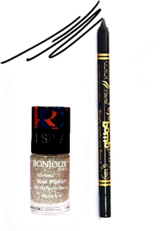 Bonjour Paris Color Fever 912 Black Pro Kajal+Glitter Nail Polish(Set of 2)