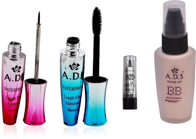 ADS Eyeliner, Mascara, BB Foundation and Kajal(Set of 4)