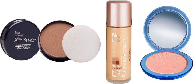 Blue Heaven Xpression Pan Cake (75), Oil Free Foundation (Cream Beige) & Silk On Face Compact (SKIN) Combo.(Set of 3)
