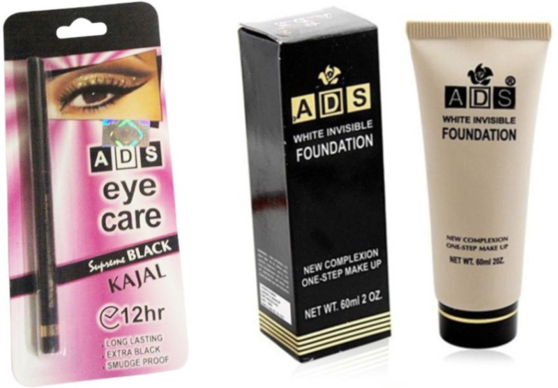 ADS Eye care Kajal With White invisible Foundation(Set of 2)