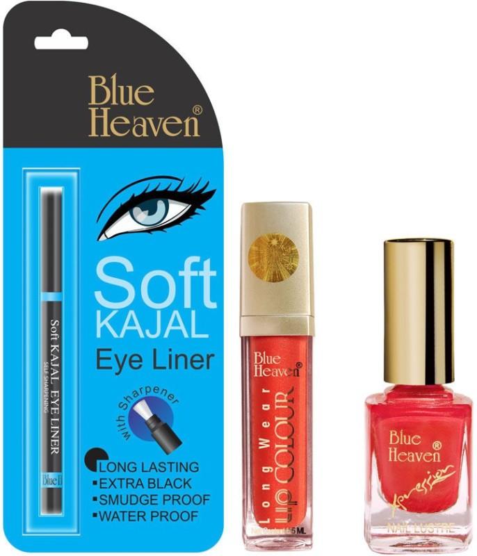 Blue Heaven Long Wear Lip Color, Xpression Nail Paint & Bh Kajal Liner Combo.(Set of 3)