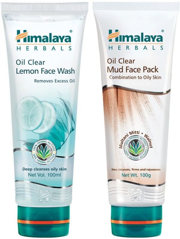 Himalaya Oil Clear Lemon Wash & Mud Face Pack(Set of 2)