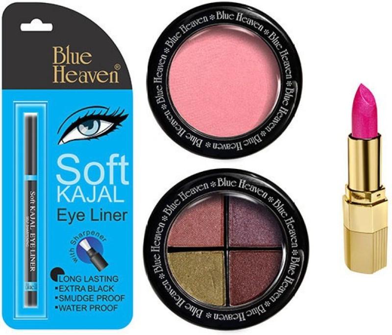Blue Heaven Lipstick , Kajal Liner, Eye Magic Eye Shadow & Diamond Blush On(Set of 4)