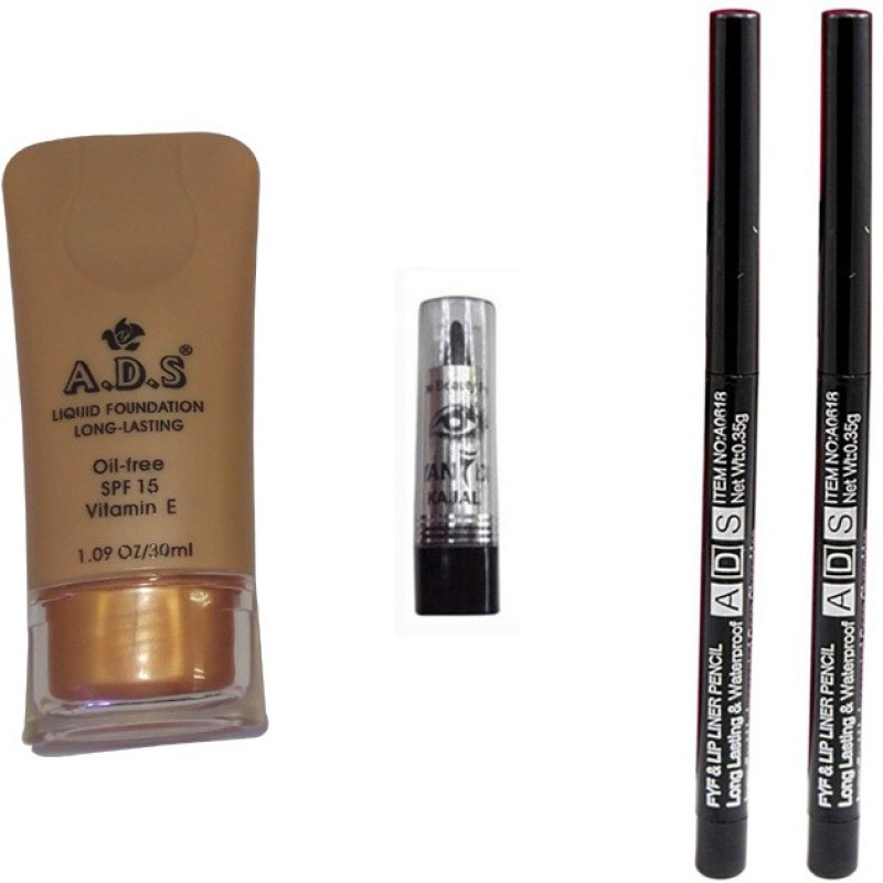 ADS Liquid Foundation / Lip Liner / Kajal(Set of 4)