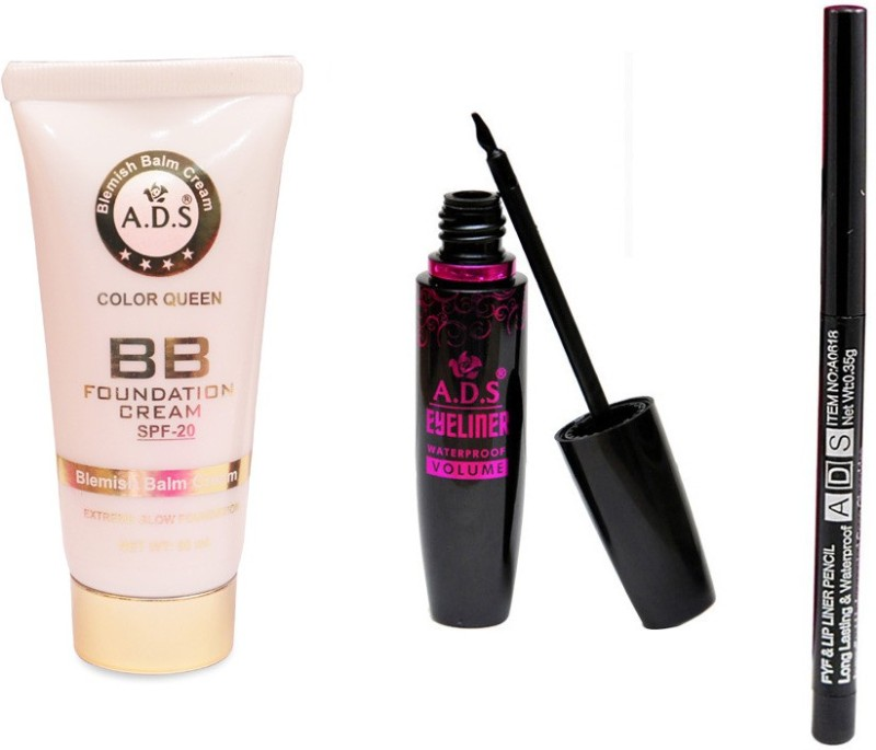 ADS BB Cream (SPF-20) / Waterproof Eyeliner / Lip Liner(Set of 3)