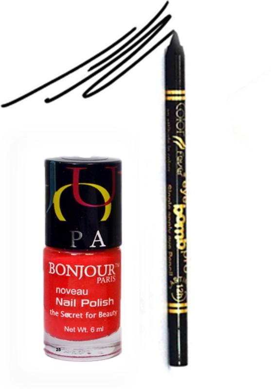 Bonjour Paris Color Fever 921 Black Pro Kajal+Red Nail Polish(Set of 2)