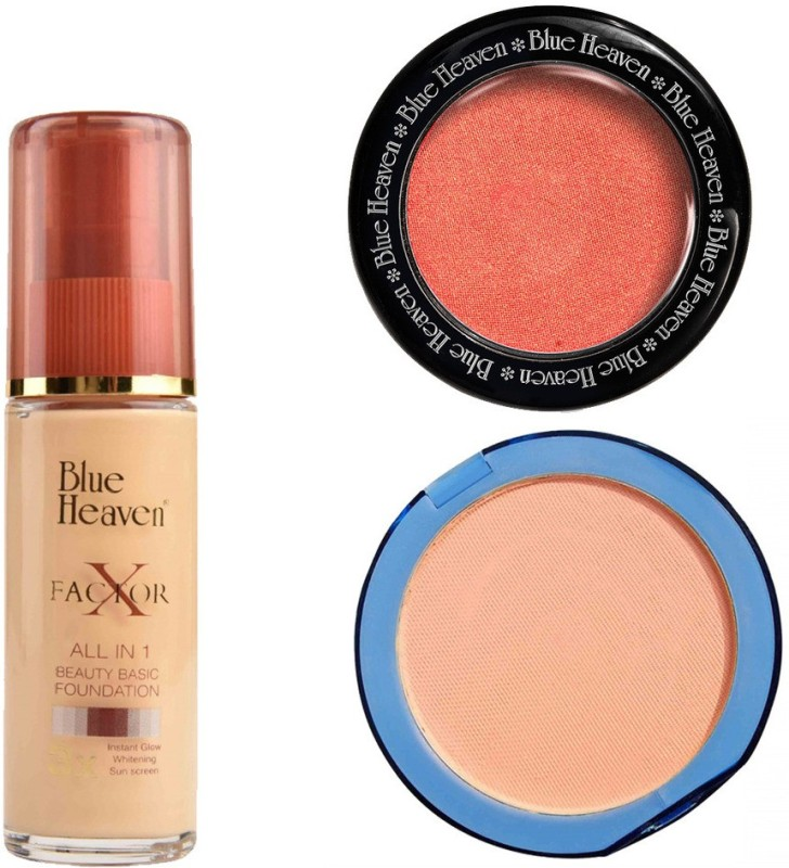 Blue Heaven X Factor Foundation (Natural), Silk On Face Compact (Blush) & Diamond Blush on 503(Set of 3)