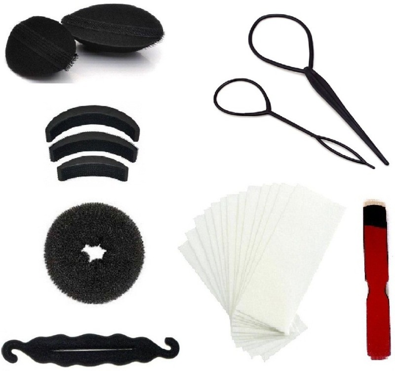 Out Of Box Hair Velcro Bumpits Topsy Maker & 50 Wax Strips with Wood Knife(Set of 11)