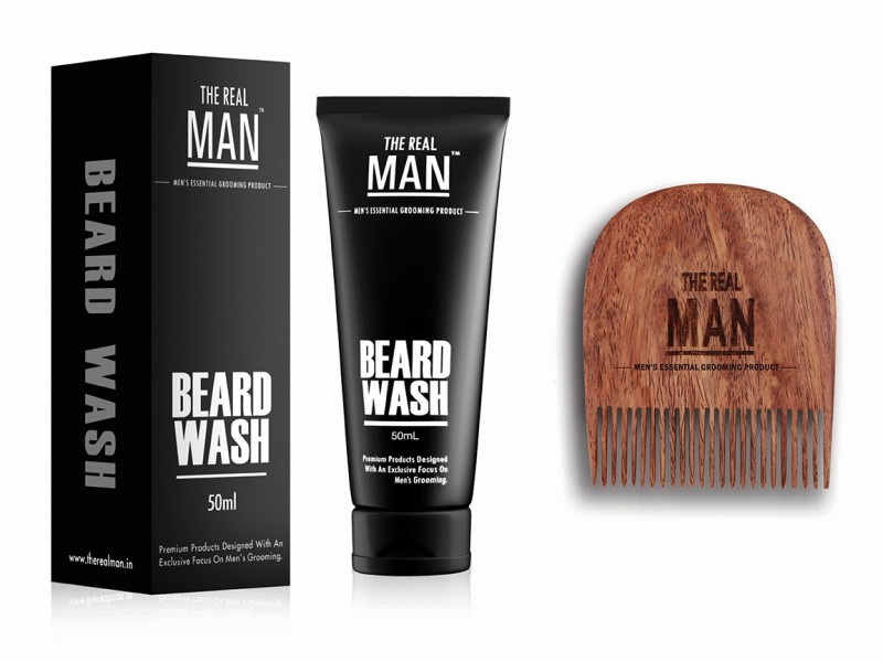 The Real Man Beard Wash(50ml) & Comb(Set of 3)